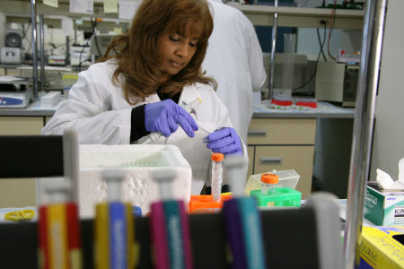 Dr. Joyce Tombran-Tink works in her lab at Penn State College of Medicine.