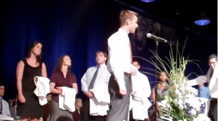 Timothy Brown, four years ago at the White Coat Ceremony. See the video at http://bit.ly/1BPoqPh. Visit Penn State Medicine online after the Match Day Ceremony on March 20 for an update on Brown.
