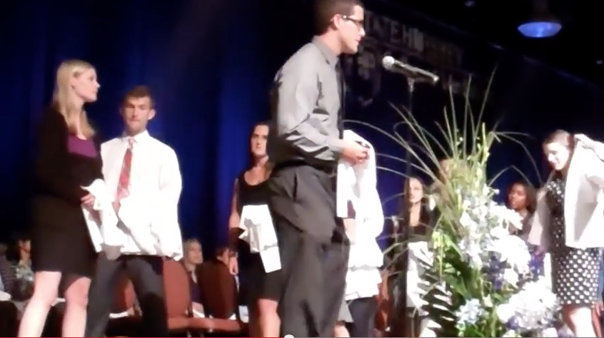 Jon-Ryan Burris, four years ago at the White Coat Ceremony. See the video at http://bit.ly/1BPoqPh. Visit Penn State Medicine online after the Match Day Ceremony on March 20 for an update on Burris.