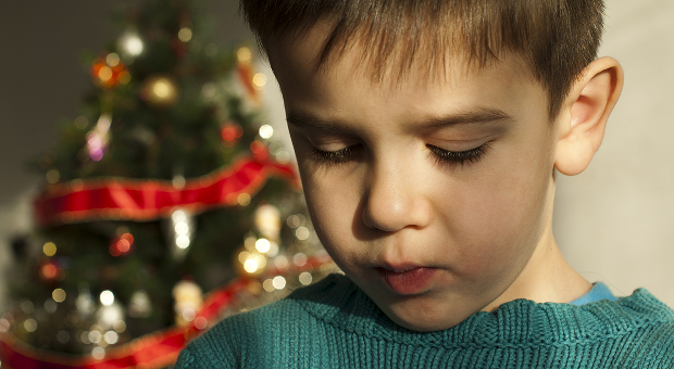 Unhappy child on Christmas