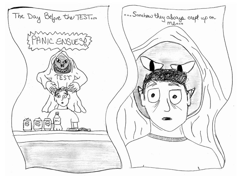 This comic by Alex Burton is an example of the type of work created by fourth-year medical students in the Graphic Narratives course at Penn State College of Medicine. The two-panel cartoon depicts a hand-drawn student with the words The Day Before the Test over his head and a line of caffeinated drinks in front of him. A grim reaper-style character labeled TEST is drawn behind his head. The second panel includes the text Somehow They Always Crept Up on Me and features a close-up on the student's face with the Test Grim Reaper's hands at his head.