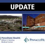 "The word ""update"" appears in capital letters across the top, above photos of Hershey Medical Center (left) and PinnacleHealth's Harrisburg Hospital (right)."