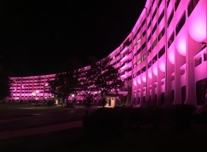 The Milton S. Hershey Medical Center's signature Crescent is illuminated in pink.
