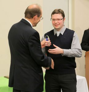 At the 2016 Penn State College of Medicine Innovation Awards, Yan Leyfman received the 2016 Student Award for Excellence in Innovation. Leyfman is pictured receiving the award from a faculty member.
