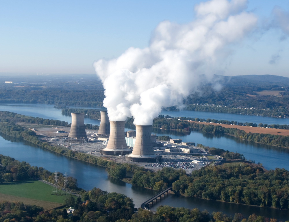 An aerial view of the Three Mile Island Nuclear Generating Station.