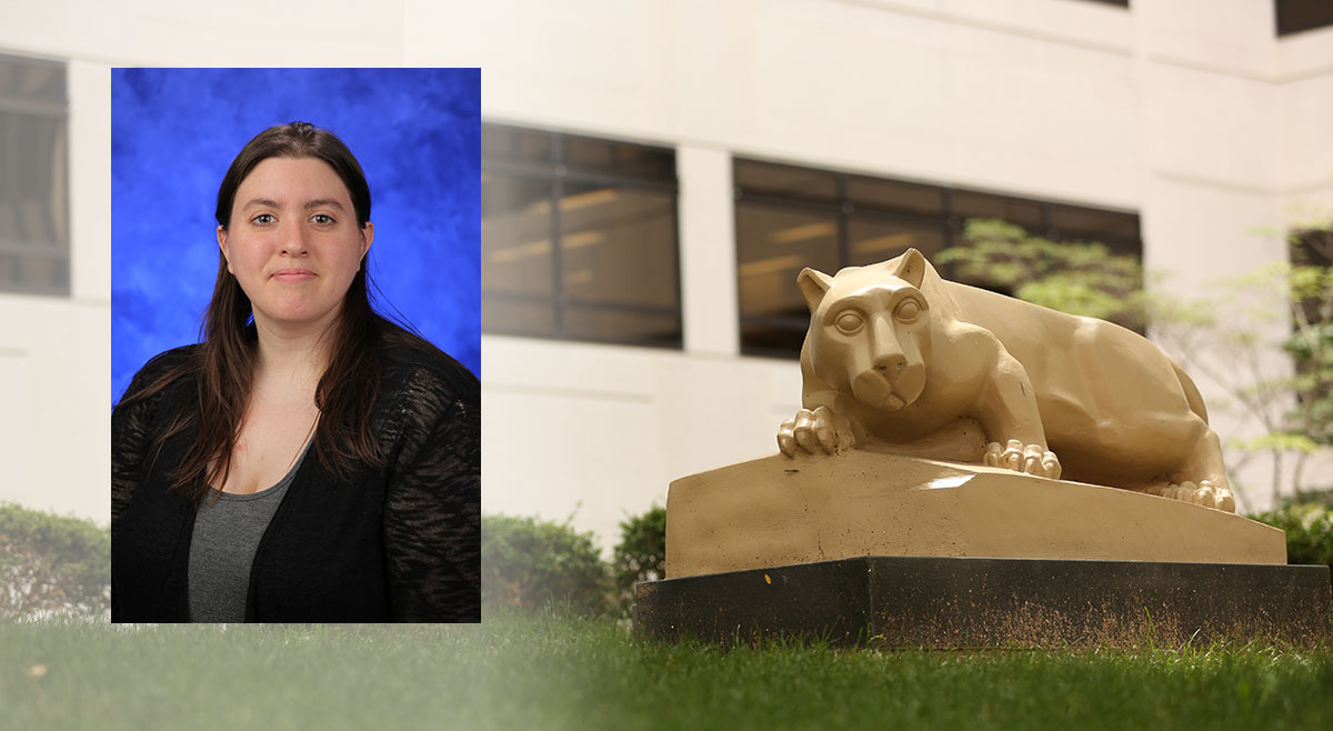 Jesica James, a PhD student in the Biomedical Sciences Graduate Program at Penn State College of Medicine, recently was named to a summer fellowship by the Lupus Federation of America. A photo of James wearing a black blazer and dark shirt, against a blue photo background, is superimposed on the left side of a photo that depicts the College of Medicine's outdoor Nittany Lion statue at right.