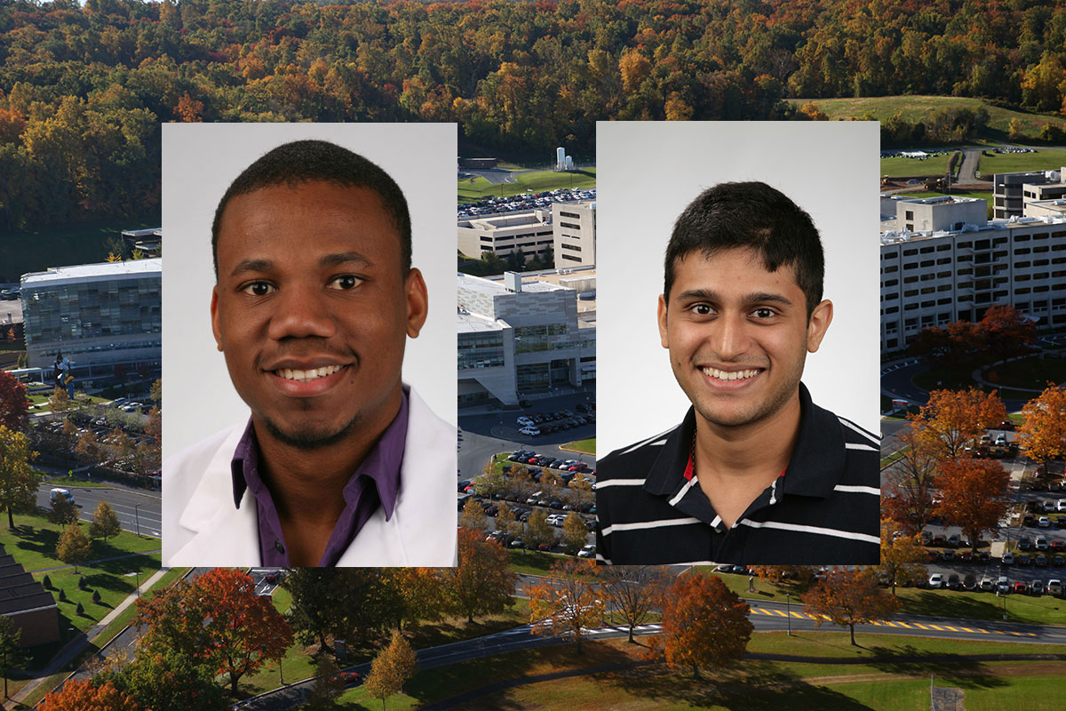 A Penn State College of Medicine MD/PhD student and a graduate program alumnus were recently featured in Philadelphia Business Journal. Pictures of Olivier Noel and Varun Prabhu are seen superimposed on a photo of the College of Medicine's campus in Hershey, PA.
