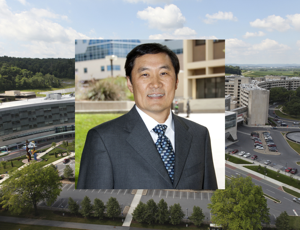 A photo of Dr. Thomas Y. Ma superimposed over an aerial view of the Hershey Medical Center and Penn State College of Medicine campus.