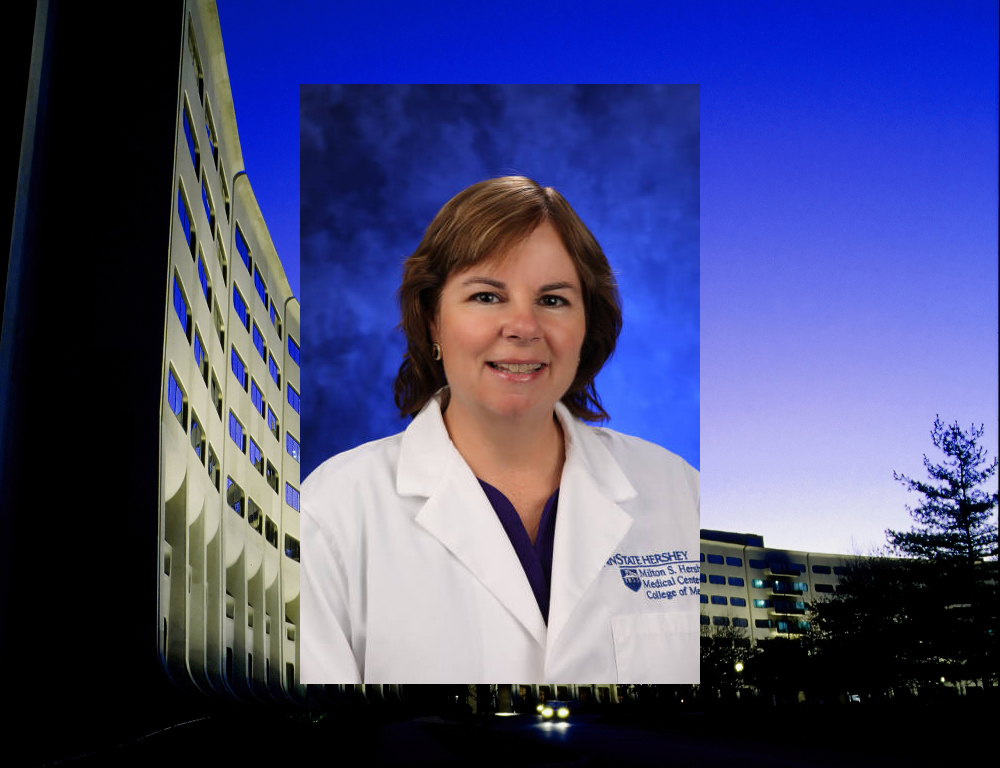 A photo of Christine Bruce wearing a white coat against a blue background; that photo is placed on top of a wider shot of the signature Crescent at Hershey Medical Center/College of Medicine.