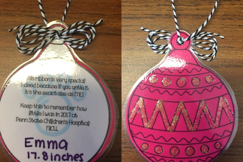 Two side-by-side images of laminated Christmas tree ornaments.