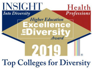 The logo for the Insight Into Diversity Health Professions Higher Education Excellence in Diversity Award for 2019 includes colored geometric shapes and the words Top Colleges for Diversity.