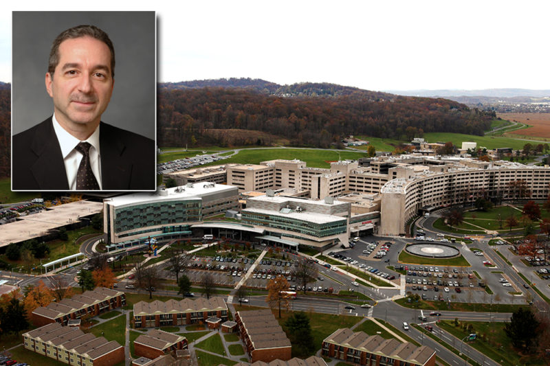 An image of Dr. Tony G. Farah superimposed over the upper left-hand corner of a photo of the Milton S. Hershey Medical Center campus.