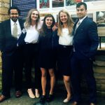 From left, Nirmal Ahuja, Mallory Hidinger, Madison Taylor, Alyssa Brandt and Bryan Caffrey represented Penn State in a public health competition in Atlanta. The five people are pictured wearing semi-formal/business attire stand outside in front of a sign with a stone base.