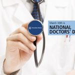 "A physician in a white coat holds the head of a stethoscope toward the camera, revealing a Penn State Health logo. The words ""March 30th is National Doctors' Day"" are on the right-hand side."