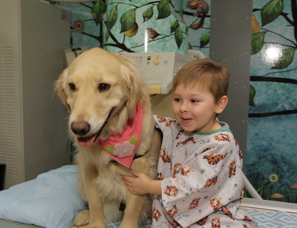 A boy in a hospital gown sits alongside a golden retriever. The boy is smiling; the dog is wearing a pink