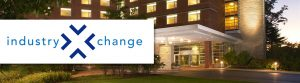 The industryxXchange logo appears superimposed on a view of the facade of The Penn Stater Hotel and Conference Center in State College, PA.