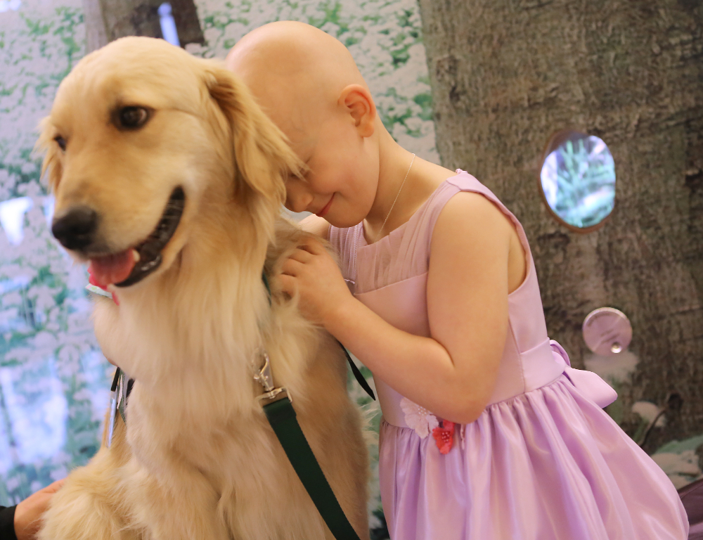 A young girl in a pink dress smiles and hugs a golden retriever, her head placed gently against the dog's neck.