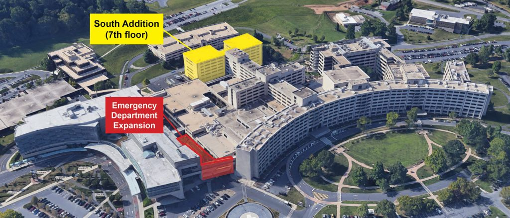 "An aerial view of Hershey Medical Center. A red text box reading ""Emergency Department Expansion"" points to the ED area; a yellow text box reading ""South Addition (7th floor)"" points to the hospital's South Addition."