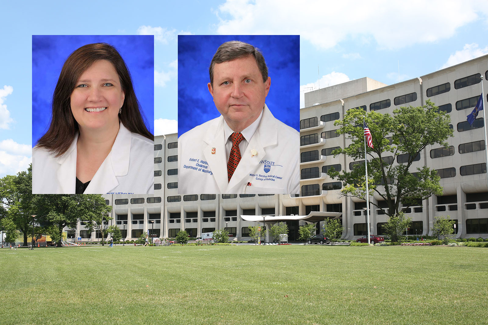 Dr. Shelly D. Timmons, left, and Dr. Robert Harbaugh, right, were recently honored by the American Association of Neurological Surgeons. Head-and-shoulders photos of the two physicians, wearing medical coats, are superimposed on an image of Penn State College of Medicine's Crescent building in Hershey, PA.