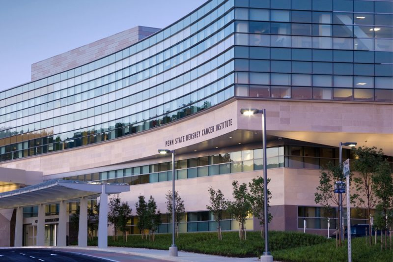 The glass-fronted Penn State Cancer Institute is seen in Hershey, PA.