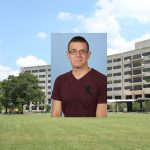Gary J. Farkas, a student in the Anatomy PhD program at Penn State College of Medicine, was honored by the Department of Physical Medicine and Rehabilitation for excellence in graduate student research. A head-and-shoulders photo of Farkas is seen superimposed on the left side of a photo of the College's Crescent building in Hershey, PA.