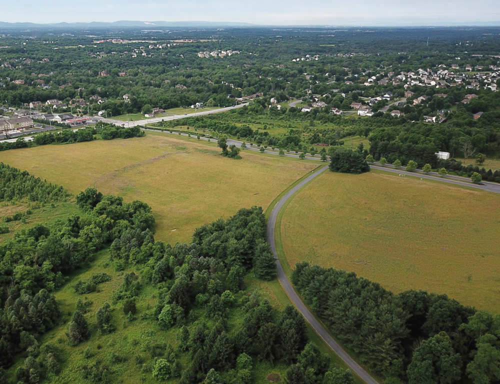 An aerial view of a plot of land. Several trees are in the foreground, while various businesses and homes are visible in the distant background.