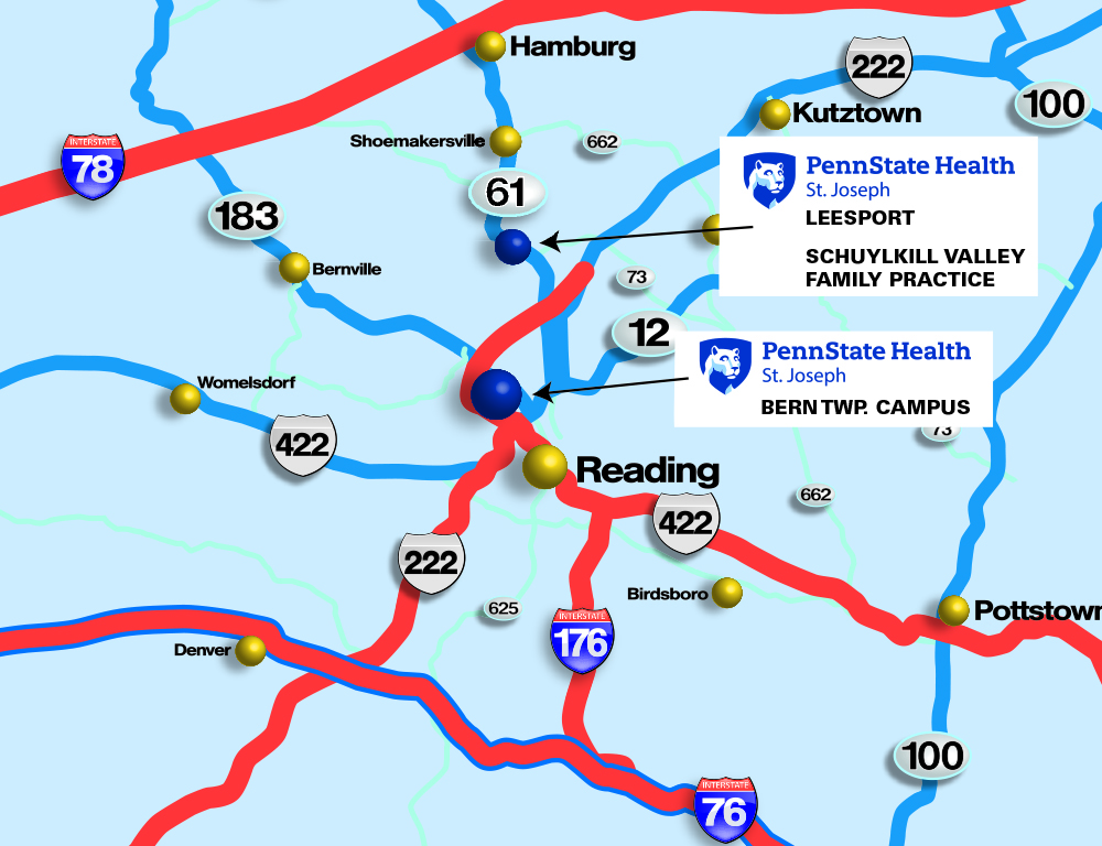 A map of part of Berks County, Pennsylvania. Text notes the location of three Penn State Health St. Joseph practices.