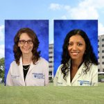 Drs. Erika Saunders, left, and Patricia Silveyra, right, were recently chosen for leadership programs. Professional head-and-shoulders photos of the two women are seen superimposed on an image of Penn State College of Medicine's Crescent building in Hershey, PA.