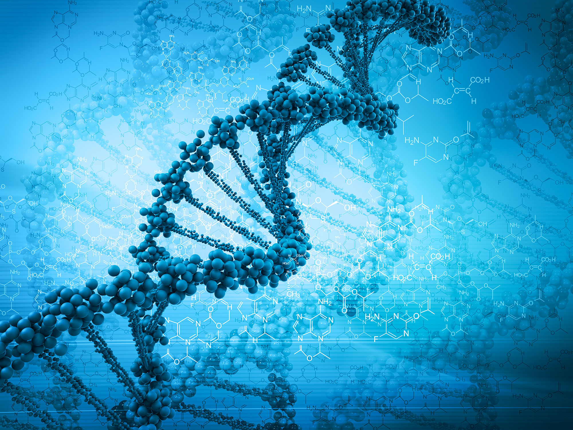 A stylized image of a DNA double helix is seen overlaid on faint depictions of molecules.