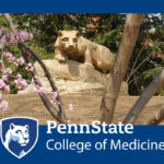 An image of the Penn State Nittany Lion statue is seen through a small clump of trees. The Penn State College of Medicine logo appears over the bottom on a solid-colored background.