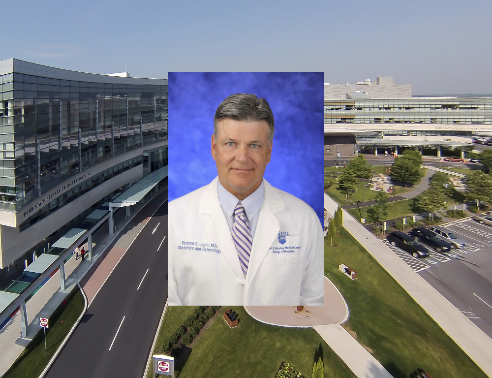 A professional headshot image of Dr. Richard Legro superimposed on an aerial photo of the main Hershey Medical Center entrance and surrounding buildings.
