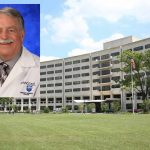 Dr. Dennis Gingrich, a family physician with Penn State Health and Penn State College of Medicine, is superimposed at the top left of a photo of the College's Crescent building, showing the building, trees and a large expanse of lawn.