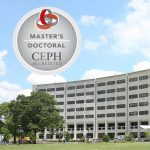 An image of the front of Penn State College of Medicine's Crescent building in Hershey, PA, is seen on a nice day. The logo for the Council on Education for Public Health (CEPH) is seen superimposed on the top left of the photo.