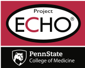 The logo for Penn State Project ECHO includes an oval with the words Project ECHO in it in large type. Penn State College of Medicine's logo appears below.