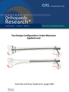 The cover of a scientific journal shows computer models of the femur in the leg and the title Journal of Orthopaedic Research.