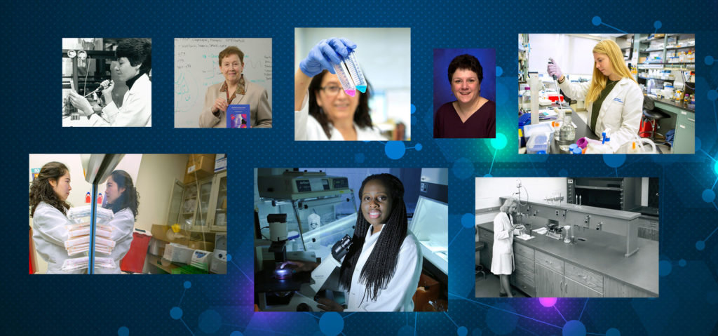 A collage of eight photos shows women past and present engaged in scientific activities.