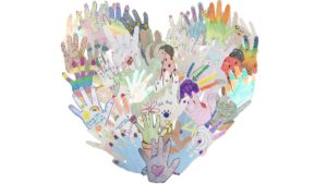 "Drawings of many hands overlap each other to create the shape of a heart. Some hands look like animals and others have messages on them, like ""Every little thing is going to be alright"" and ""Together we will rock this."""