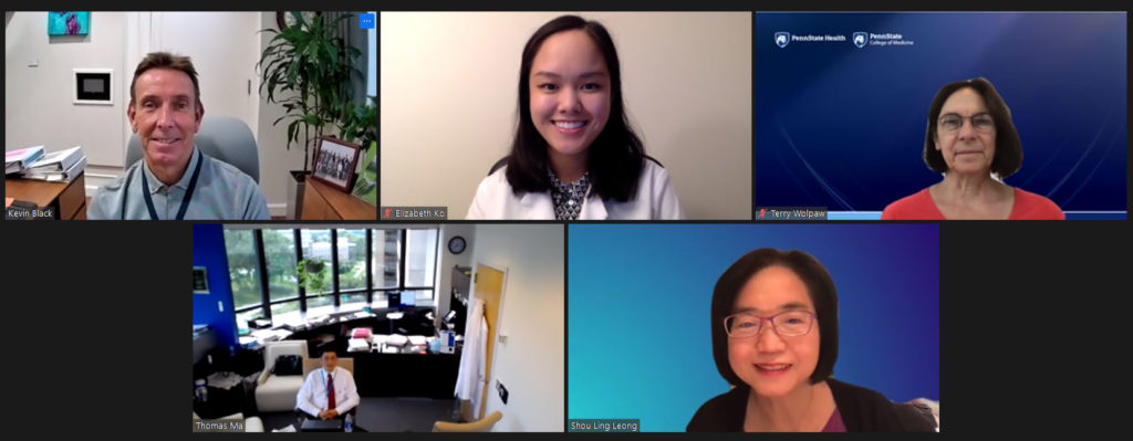 A screenshot from a Zoom videoconference shows five smaller images, each with a person's face on video.