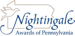 An outline of the state of Pennsylvania with an outline of a Nightingale bird on left and the words Nightingale Awards of Pennsylvania.