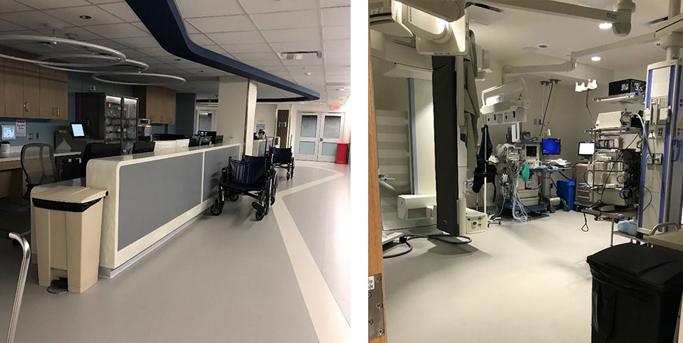 Two photos show an endoscopy unit. The first is of a station for providers and the other shows an endoscopy room. There are no people in the photos.