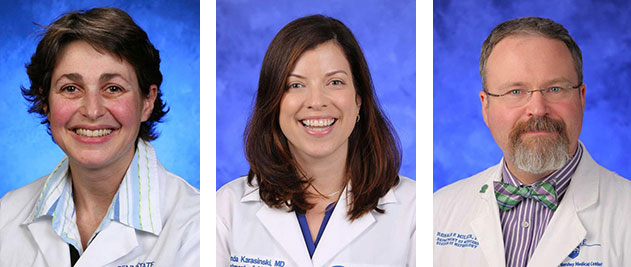 A collage of three head-and-shoulders professional photos of faculty in Penn State College of Medicine's Department of Medicine.