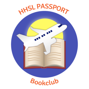 The logo for Harrell Health Sciences Library's Passport Book Club includes the group's name surrounding an image of a book with an airplane flying over it and a sun behind it.