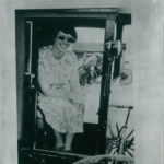 Janice Egeland is seated in a buggy