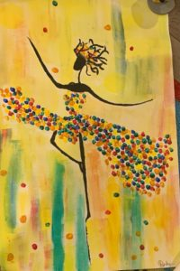 In this painting by Dr. Banku Jairath, professor of pediatrics, a black stick figure wearing a colorful dress dances.
