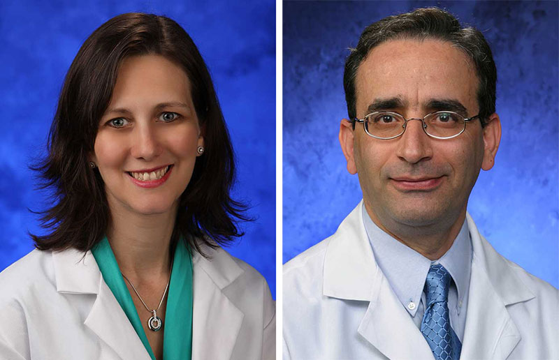 A head-and-shoulders professional photo of Dr. Karen Krok next to one of Dr. Nasr Ghahramani
