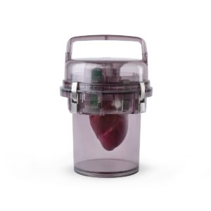 Image of canister holding a donor heart.