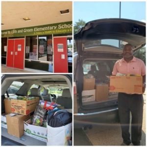 A collage of three photos shows, clockwise from left, the front of 13th and Green Elementary School, a man standing behind a vehicle with its hatch door open holding a cardboard box full of school supplies, and boxes and bags of supplies inside the trunk of the vehicle.